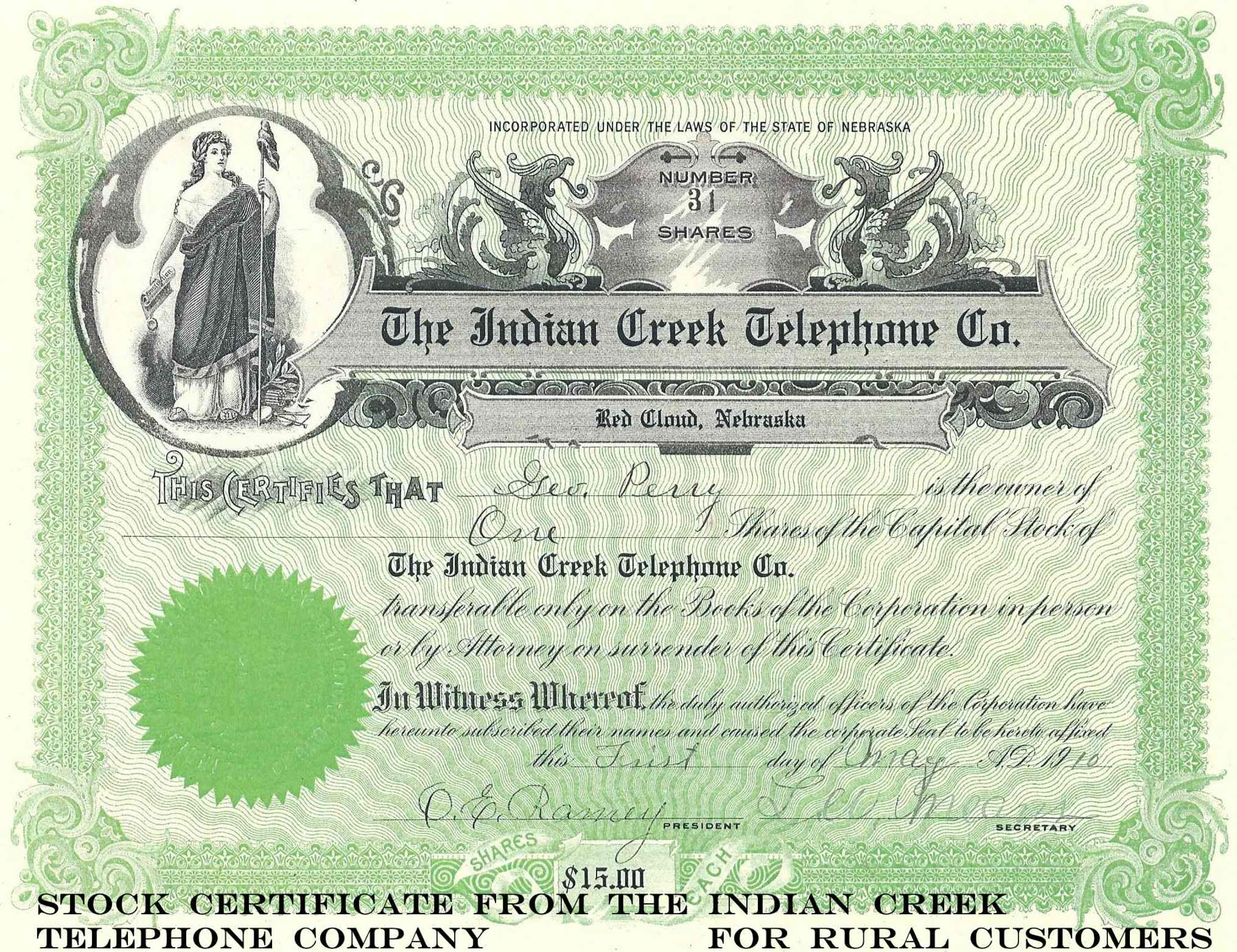 Indian Creek Telephone Co -stock cert. labeled