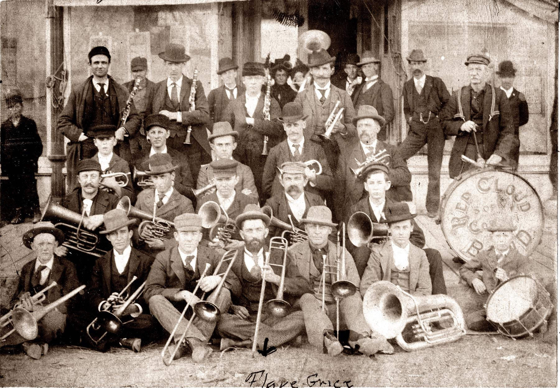 img134- Red Cloud Sons of Veterans Cornet Band 1895 - in front of Moon Block