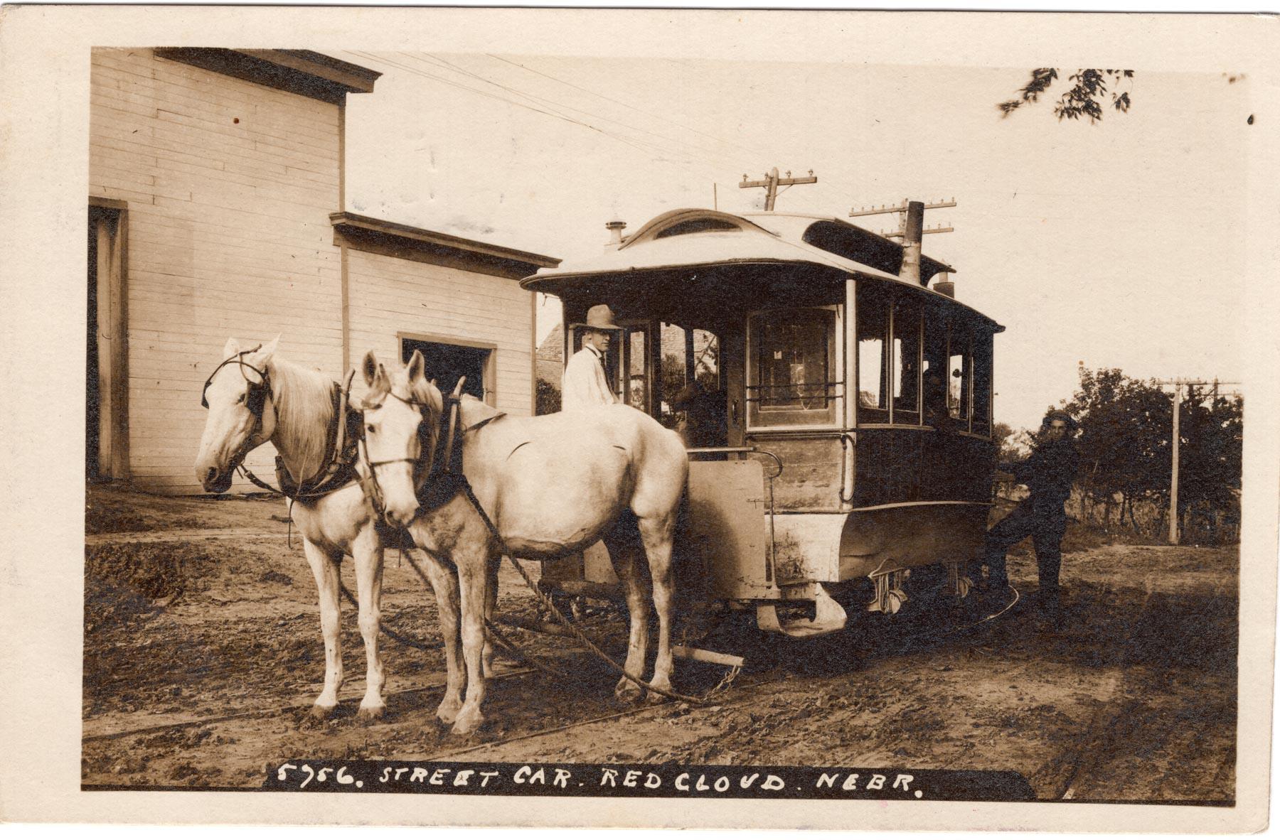 img224- Streetcar Leaving Crabill Livery Barn - Circa 1910